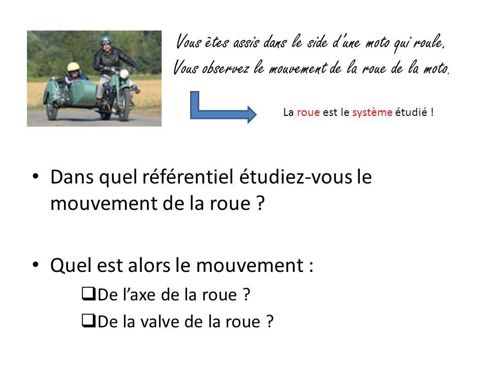 Vous êtes assis dans le side d'une moto qui roule. Vous observez le mouvement de la roue de la moto. Dans quel référentiel étudiez-vous le mouvement d
