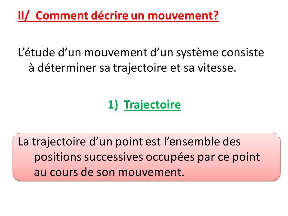II/ Comment décrire un mouvement.
