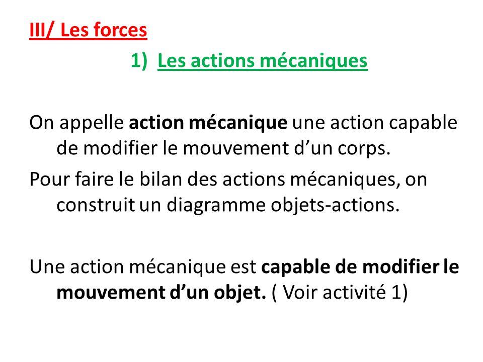 III/ Les forces 1)Les actions mécaniques On appelle action mécanique une action capable de modifier le mouvement d'un corps.
