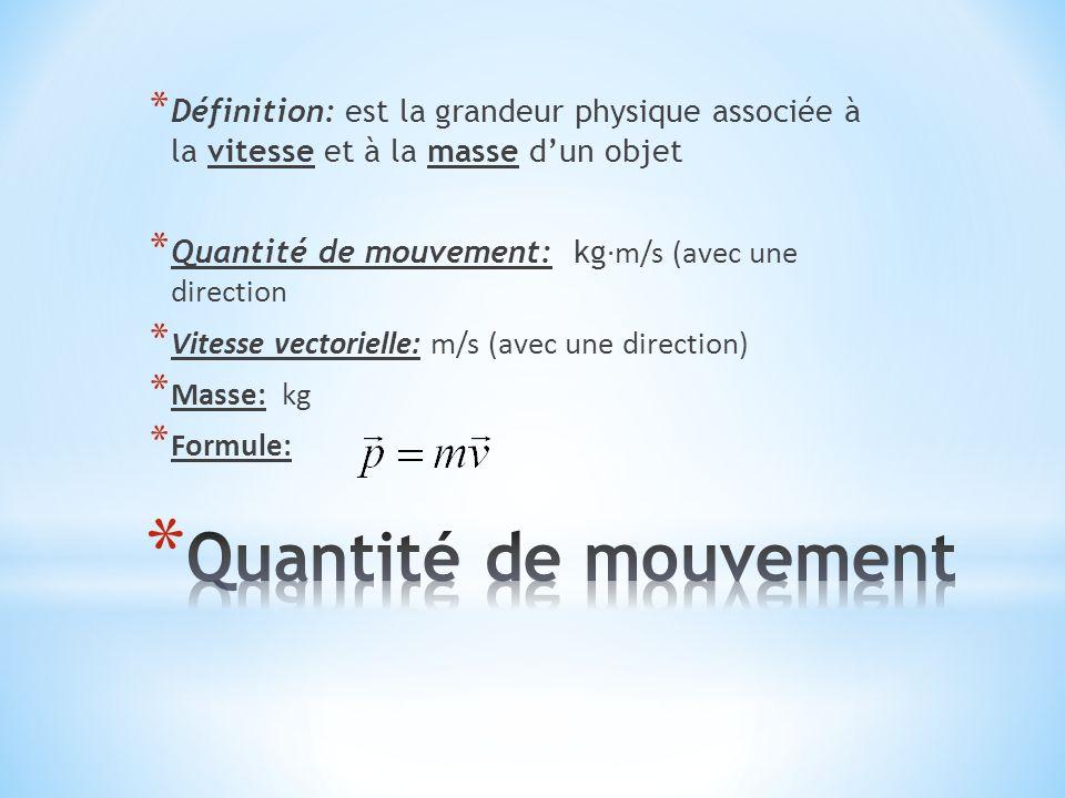 * Définition: est la grandeur physique associée à la vitesse et à la masse d'un objet * Quantité de mouvement: kg ∙m/s (avec une direction * Vitesse v
