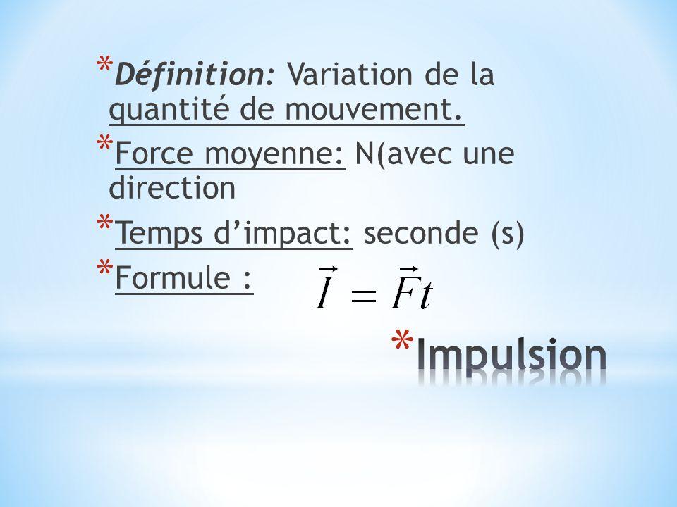 * Définition: Variation de la quantité de mouvement. * Force moyenne: N(avec une direction * Temps d'impact: seconde (s) * Formule :