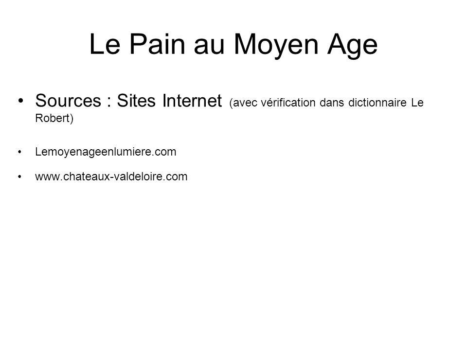 Le Pain au Moyen Age Sources : Sites Internet (avec vérification dans dictionnaire Le Robert) Lemoyenageenlumiere.com www.chateaux-valdeloire.com