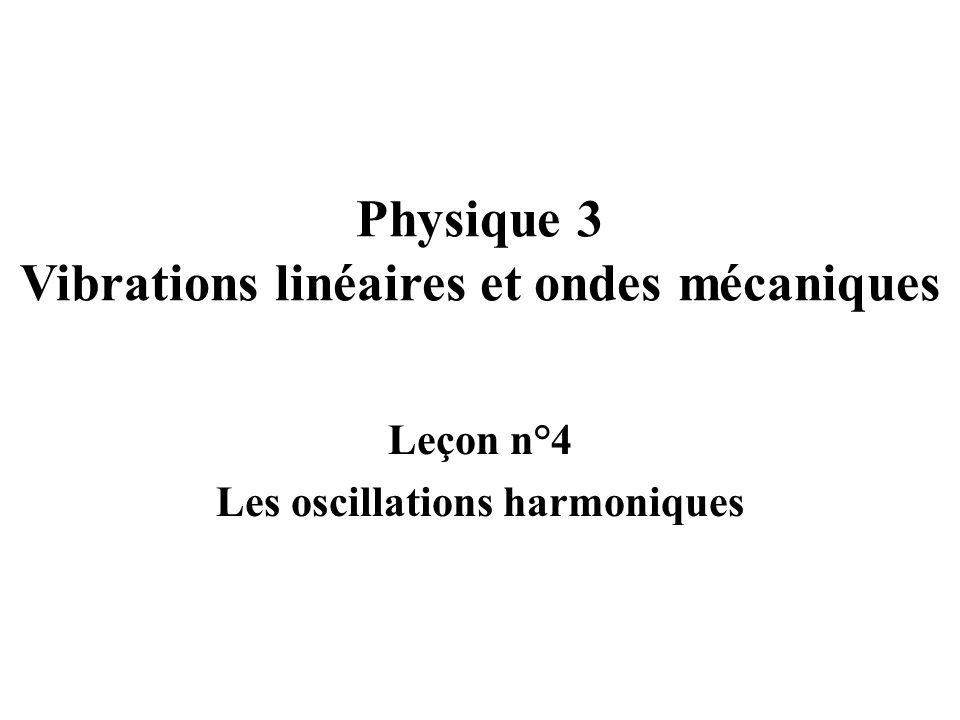 Physique 3 Vibrations linéaires et ondes mécaniques Leçon n°4 Les oscillations harmoniques