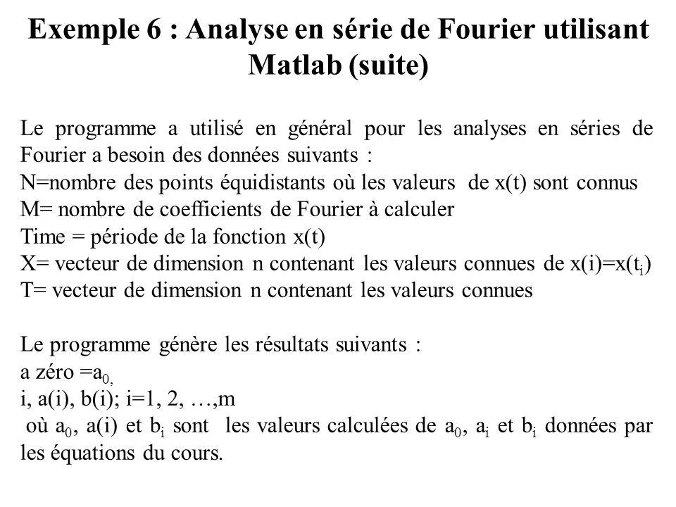 Exemple 6 : Analyse en série de Fourier utilisant Matlab (suite) Le programme a utilisé en général pour les analyses en séries de Fourier a besoin des données suivants : N=nombre des points équidistants où les valeurs de x(t) sont connus M= nombre de coefficients de Fourier à calculer Time = période de la fonction x(t) X= vecteur de dimension n contenant les valeurs connues de x(i)=x(t i ) T= vecteur de dimension n contenant les valeurs connues Le programme génère les résultats suivants : a zéro =a 0, i, a(i), b(i); i=1, 2, …,m où a 0, a(i) et b i sont les valeurs calculées de a 0, a i et b i données par les équations du cours.