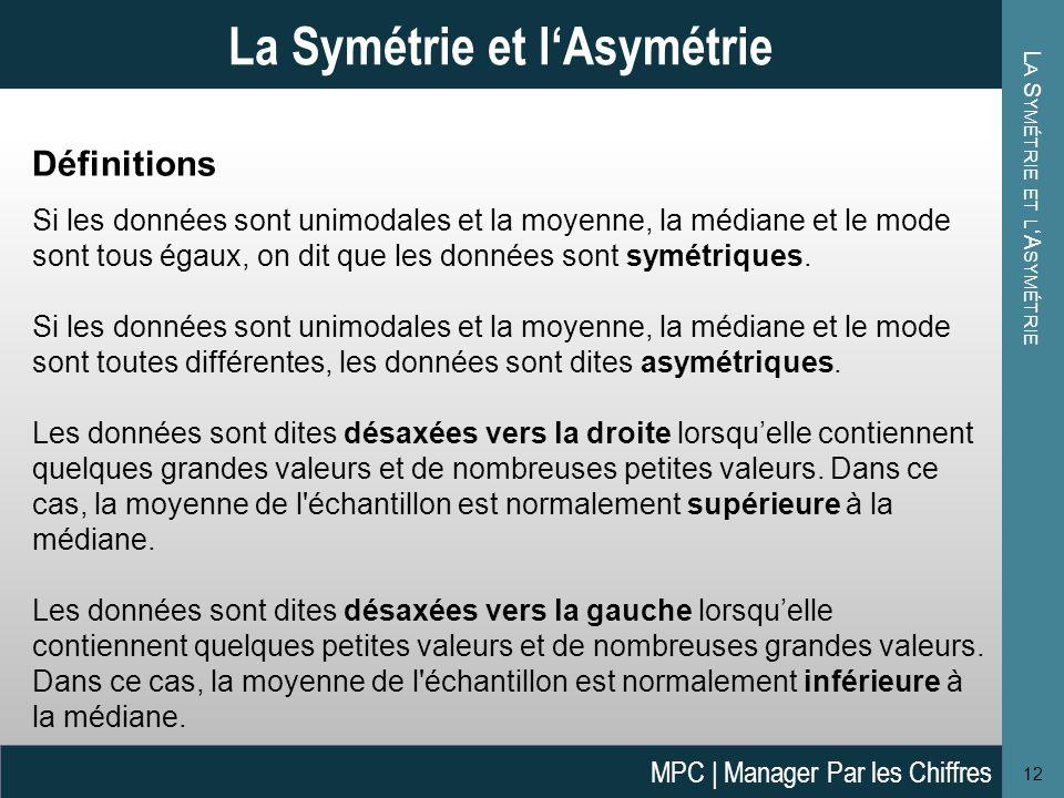L A S YMÉTRIE ET L 'A SYMÉTRIE 12 La Symétrie et l'Asymétrie Définitions Si les données sont unimodales et la moyenne, la médiane et le mode sont tous égaux, on dit que les données sont symétriques.
