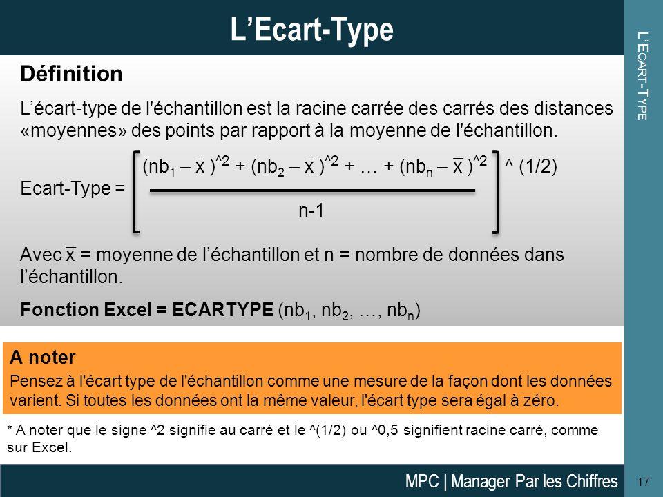 L'E CART -T YPE 17 L'Ecart-Type A noter Pensez à l écart type de l échantillon comme une mesure de la façon dont les données varient.