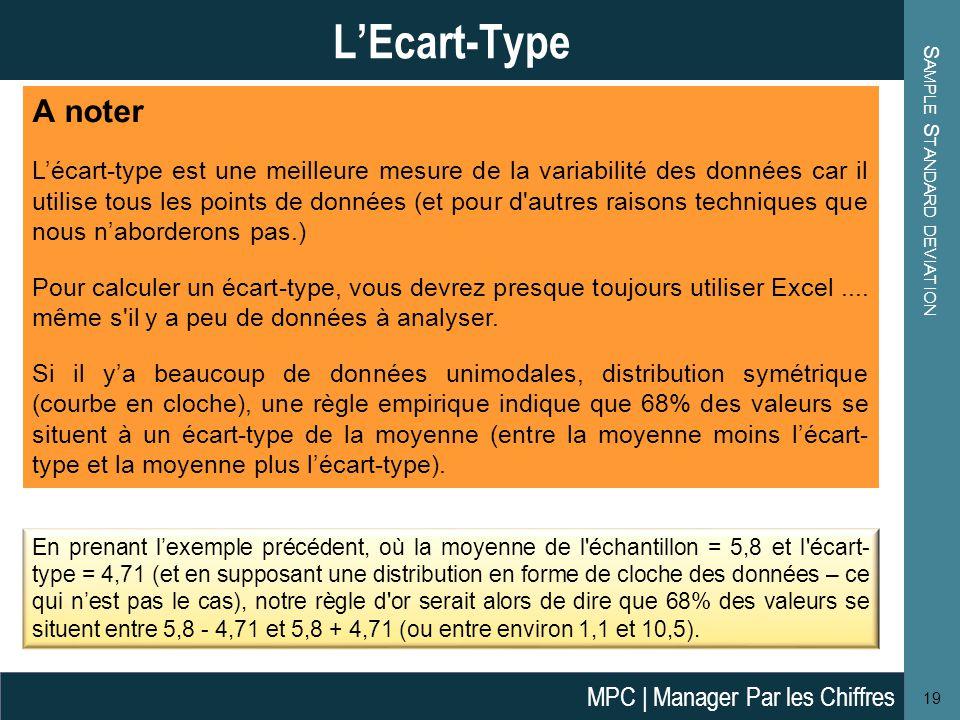 S AMPLE S TANDARD DEVIATION 19 L'Ecart-Type A noter L'écart-type est une meilleure mesure de la variabilité des données car il utilise tous les points de données (et pour d autres raisons techniques que nous n'aborderons pas.) Pour calculer un écart-type, vous devrez presque toujours utiliser Excel....
