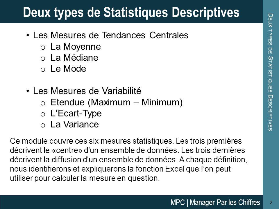 D EUX TYPES DE S TATISTIQUES D ESCRIPTIVES 2 Deux types de Statistiques Descriptives Les Mesures de Tendances Centrales o La Moyenne o La Médiane o Le Mode Les Mesures de Variabilité o Etendue (Maximum – Minimum) o L'Ecart-Type o La Variance Ce module couvre ces six mesures statistiques.
