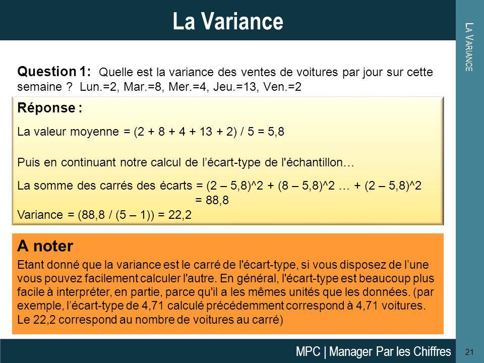 L A V ARIANCE 21 La Variance Question 1: Quelle est la variance des ventes de voitures par jour sur cette semaine .
