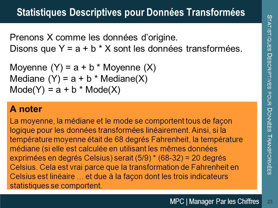 S TATISTIQUES D ESCRIPTIVES POUR D ONNÉES T RANSFORMÉES 23 Statistiques Descriptives pour Données Transformées Prenons X comme les données d'origine.