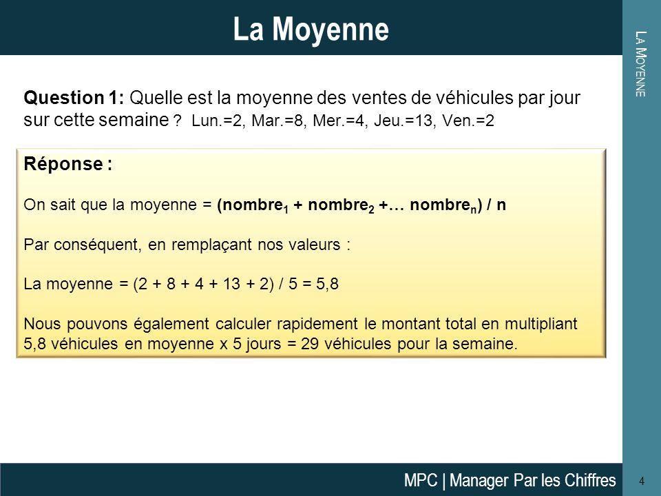 L A M OYENNE 4 La Moyenne Question 1: Quelle est la moyenne des ventes de véhicules par jour sur cette semaine .