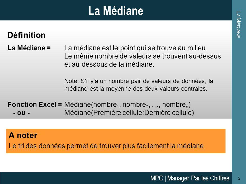 L A M ÉDIANE Définition La Médiane = La médiane est le point qui se trouve au milieu.