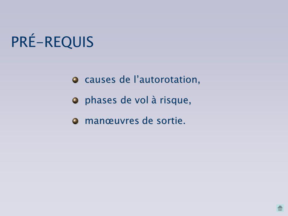 causes de l'autorotation, phases de vol à risque, PRÉ-REQUIS manœuvres de sortie.