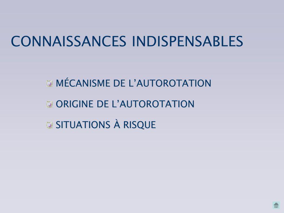 MÉCANISME DE L'AUTOROTATION MÉCANISME DE L'AUTOROTATION CONNAISSANCES INDISPENSABLES SITUATIONS À RISQUE SITUATIONS À RISQUE ORIGINE DE L'AUTOROTATION ORIGINE DE L'AUTOROTATION