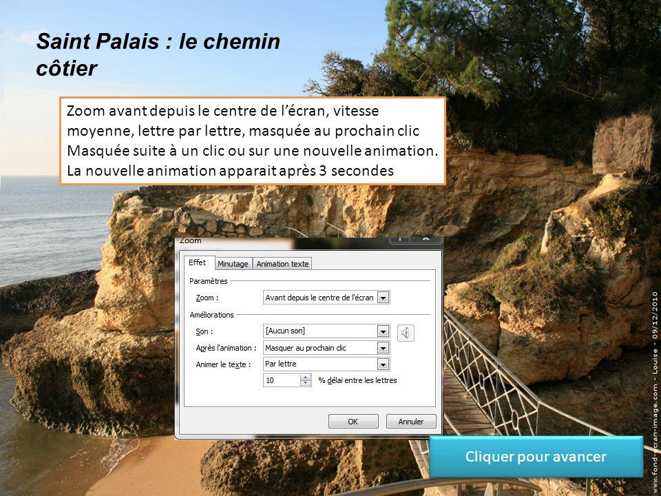 Saint Palais : le chemin côtier Zoom avant depuis le centre de l'écran, vitesse moyenne, lettre par lettre, masquée après l'animation Cliquer pour ava