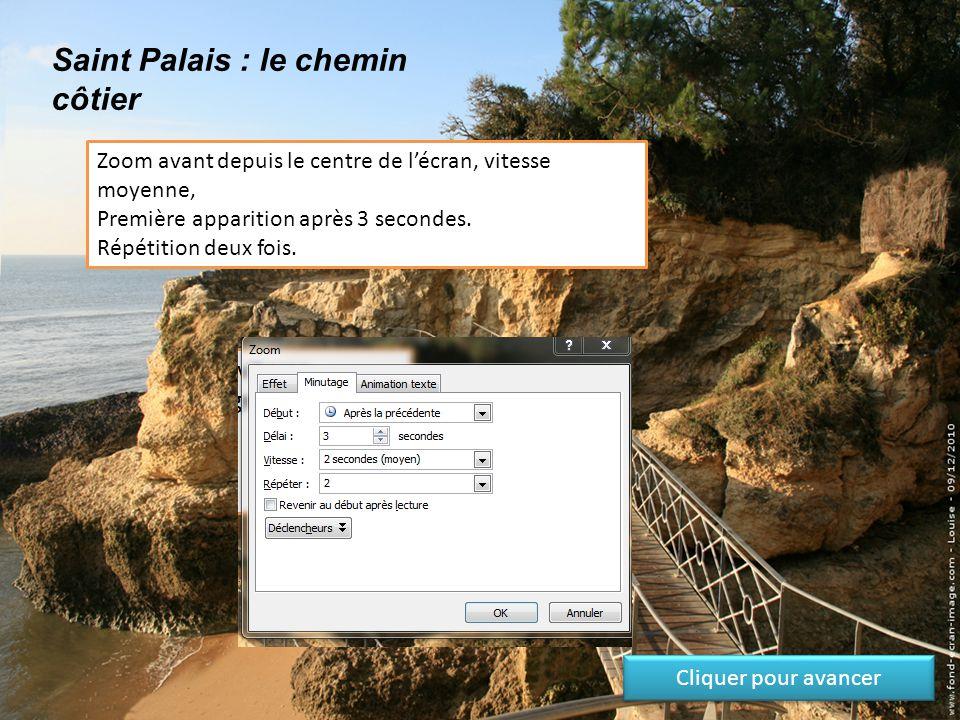 Saint Palais : le chemin côtier Zoom avant depuis le centre de l'écran, vitesse moyenne, Première apparition après 3 secondes.