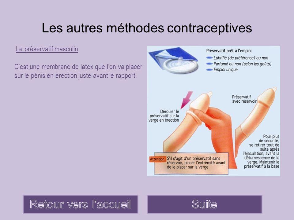 Les autres méthodes contraceptives Le préservatif masculin C'est une membrane de latex que l'on va placer sur le pénis en érection juste avant le rapp