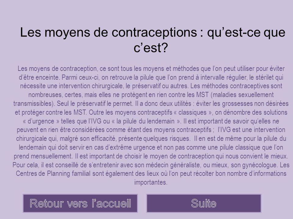 Les différents moyens contraceptifs La piluleLe patch contraceptif Le stérilet L'anneau vaginalL'implant contraceptif Et les garçons, alors.