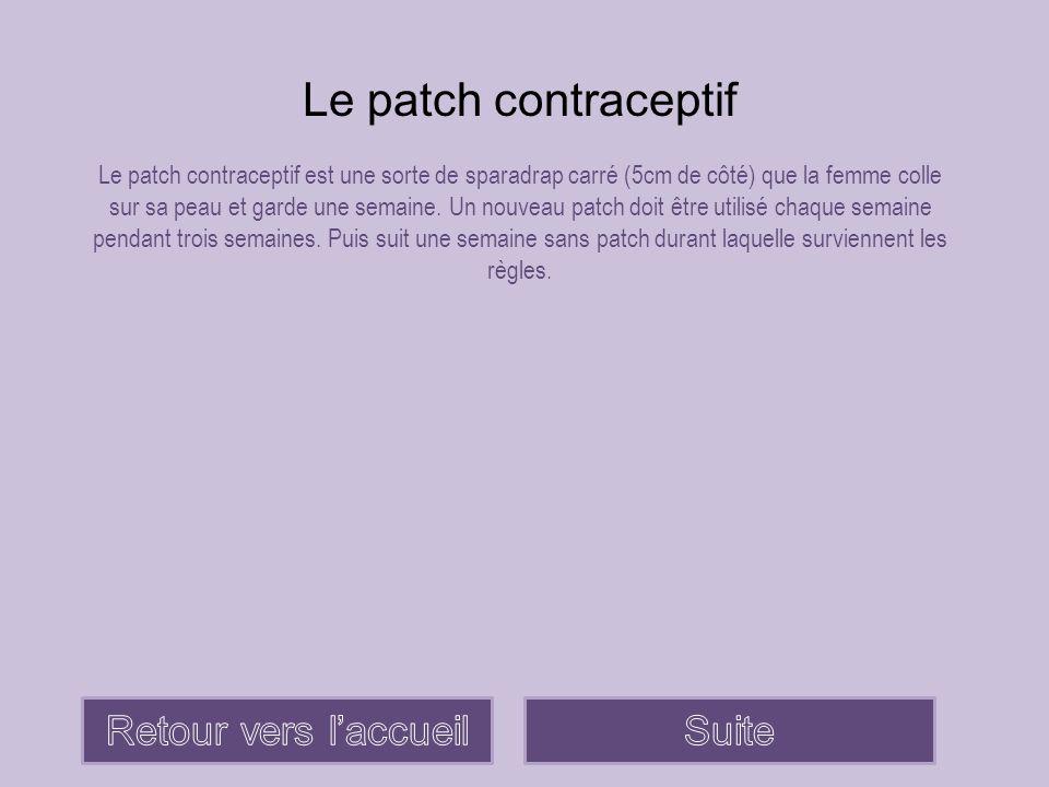 Le patch contraceptif Le patch contraceptif est une sorte de sparadrap carré (5cm de côté) que la femme colle sur sa peau et garde une semaine. Un nou