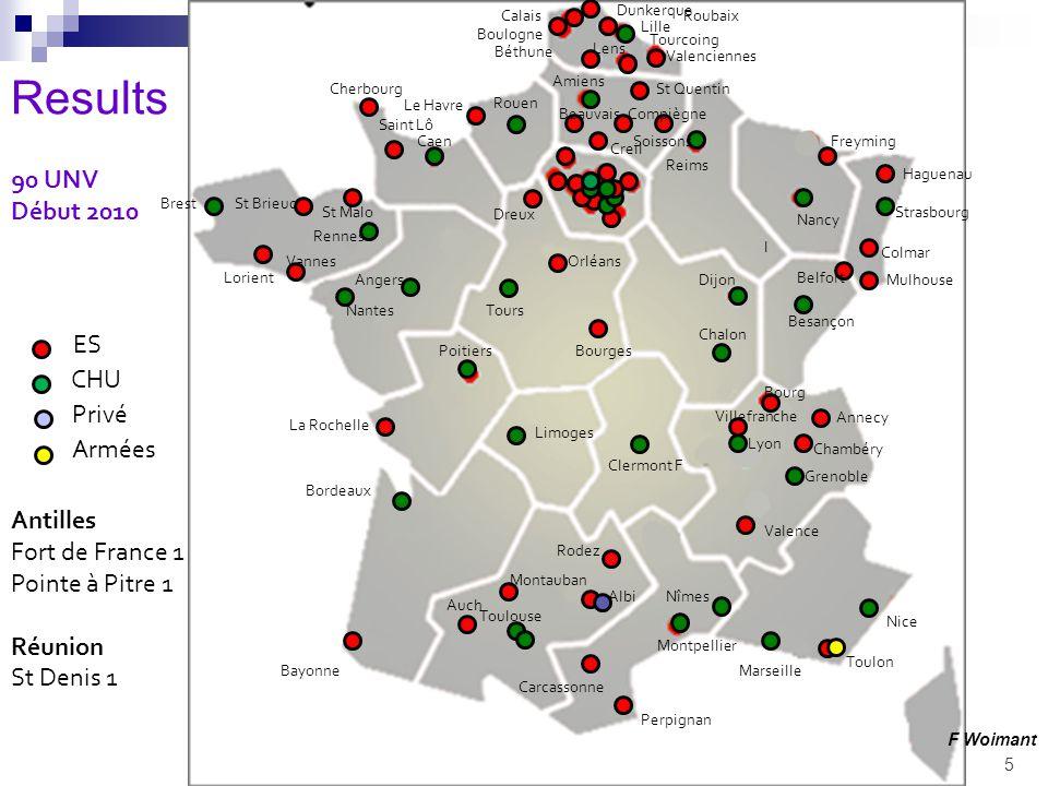 5 90 UNV Début 2010 Antilles Fort de France 1 Pointe à Pitre 1 Réunion St Denis 1 Bayonne Bordeaux Clermont F Caen Cherbourg Saint Lô Chalon Dijon St