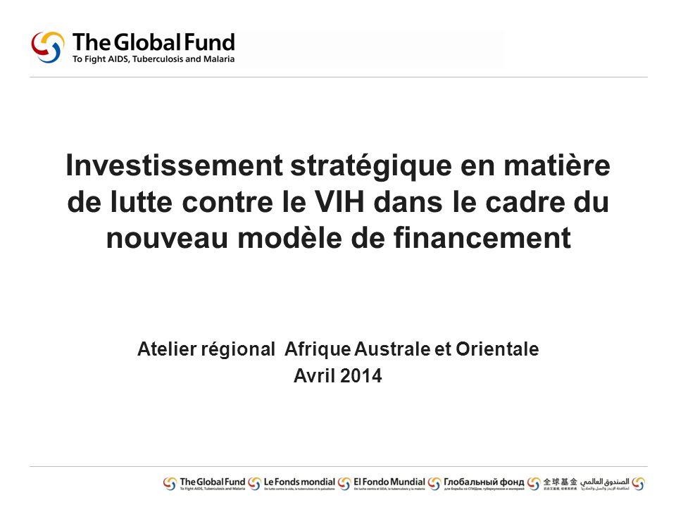 Investissement stratégique en matière de lutte contre le VIH dans le cadre du nouveau modèle de financement Atelier régional Afrique Australe et Orien