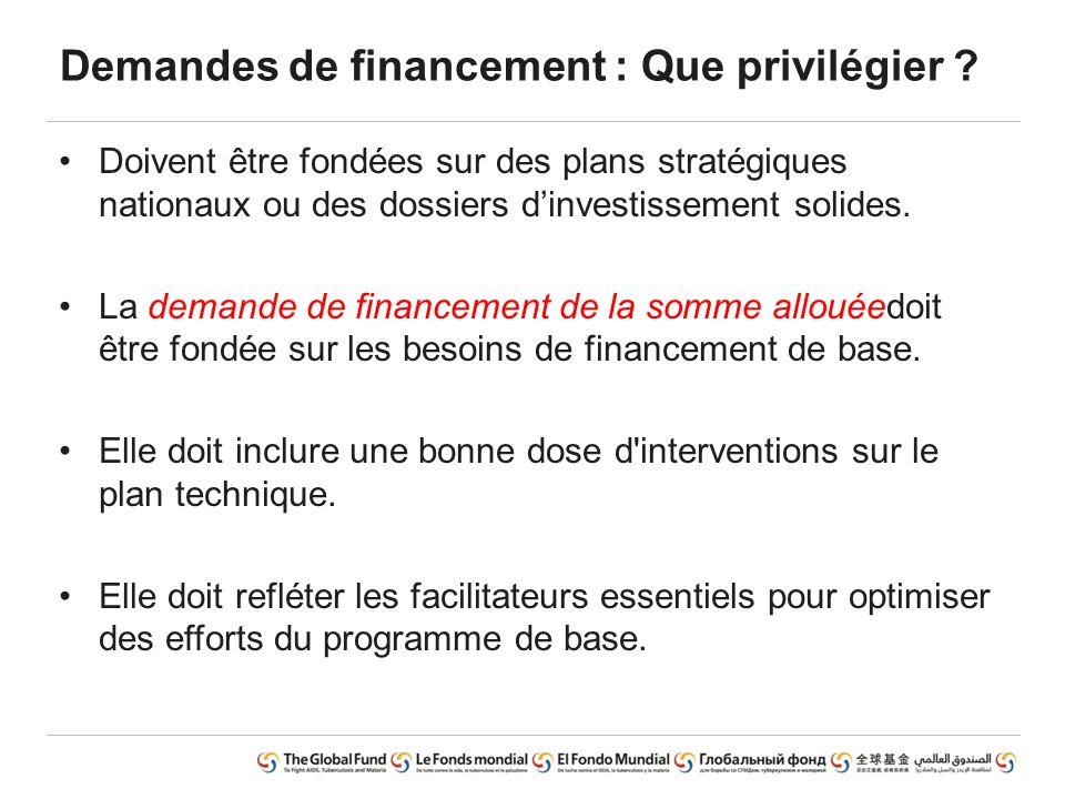 Demandes de financement : Que privilégier ? Doivent être fondées sur des plans stratégiques nationaux ou des dossiers d'investissement solides. La dem