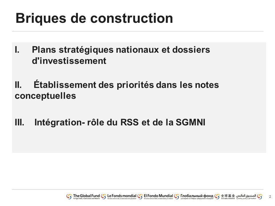 Aperçu Plans stratégiques nationaux et dossiers d investissement Établissement des priorités dans les notes conceptuelles Intégration- rôle du RSS et de la SGMNI
