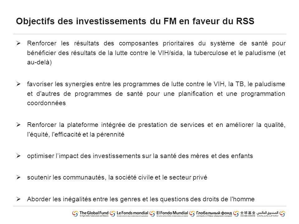 Objectifs des investissements du FM en faveur du RSS  Renforcer les résultats des composantes prioritaires du système de santé pour bénéficier des ré