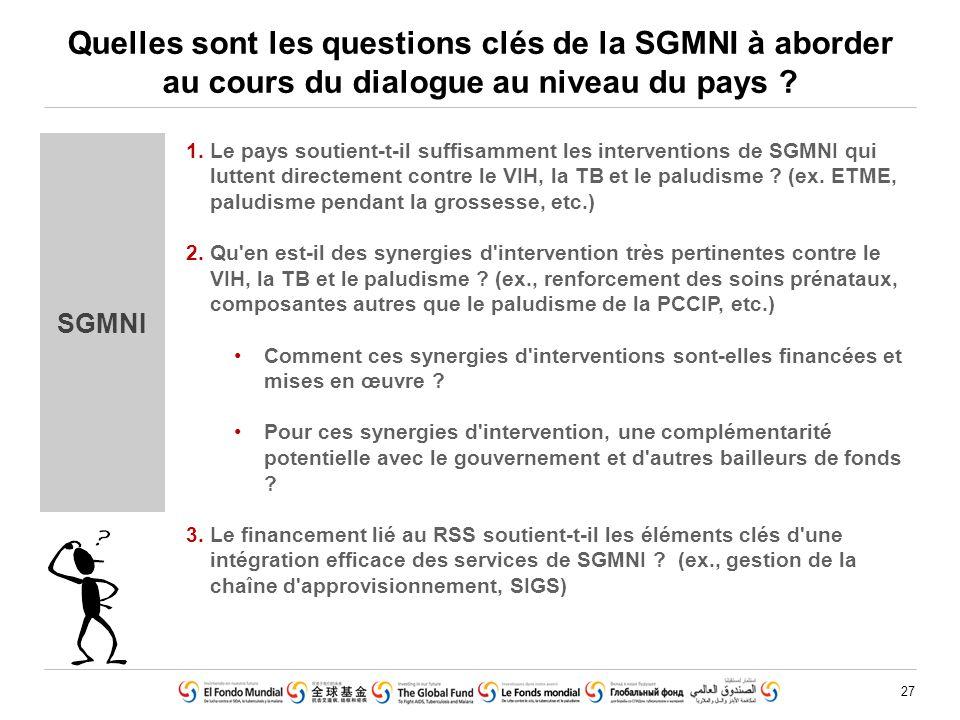 27 Quelles sont les questions clés de la SGMNI à aborder au cours du dialogue au niveau du pays ? SGMNI 1.Le pays soutient-t-il suffisamment les inter