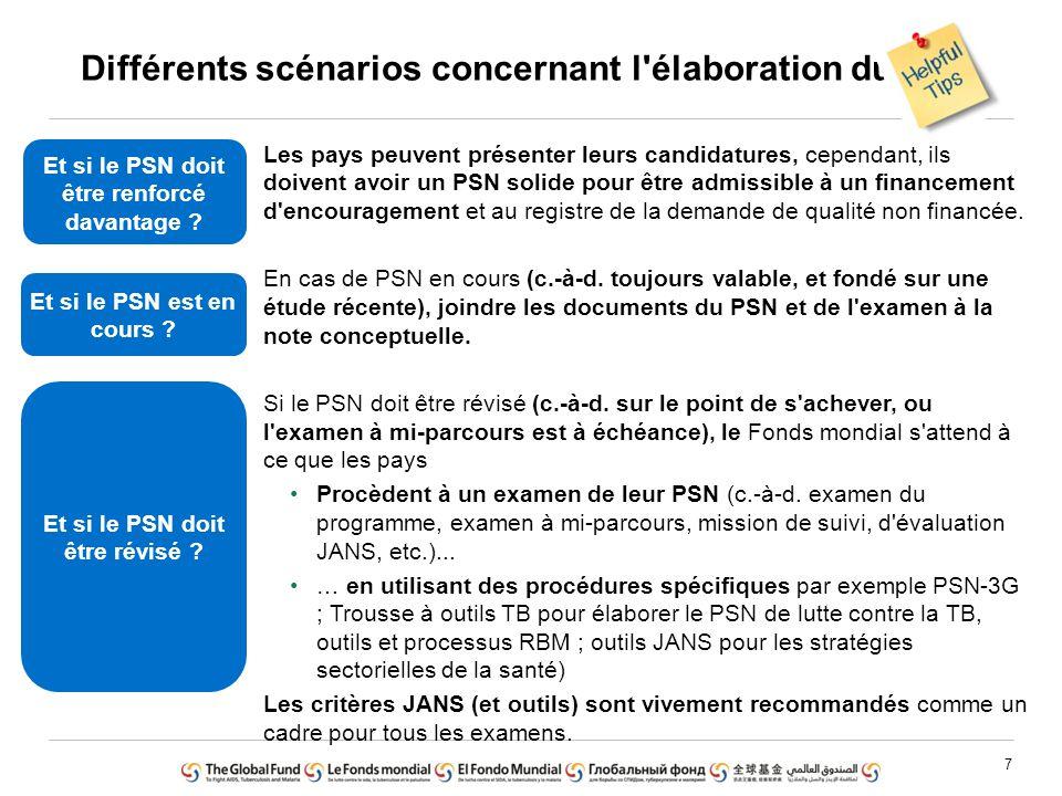 8 Rôle de facilitateur/catalyseur Le Fonds mondial soutiendra les examens des PSN (similaires à d autres parties prenantes), mais l examen et l élaboration des PSN incombent au pays et aux partenaires techniques.