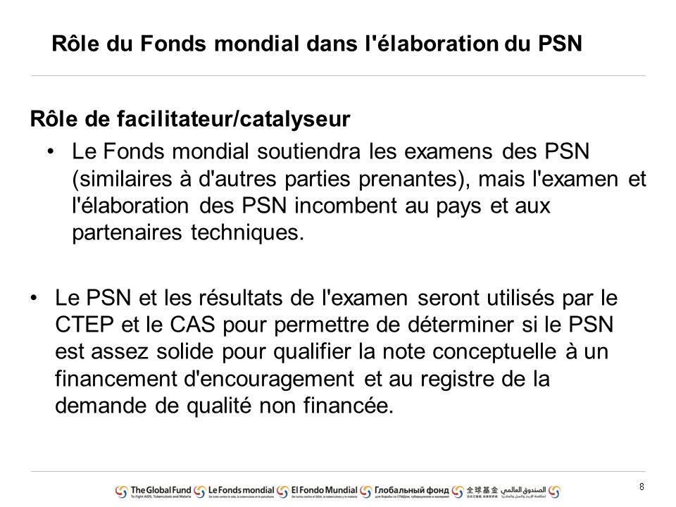 8 Rôle de facilitateur/catalyseur Le Fonds mondial soutiendra les examens des PSN (similaires à d'autres parties prenantes), mais l'examen et l'élabor
