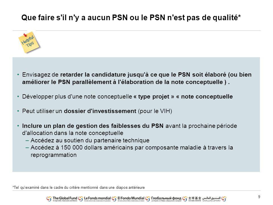 9 Que faire s'il n'y a aucun PSN ou le PSN n'est pas de qualité* Envisagez de retarder la candidature jusqu'à ce que le PSN soit élaboré (ou bien amél