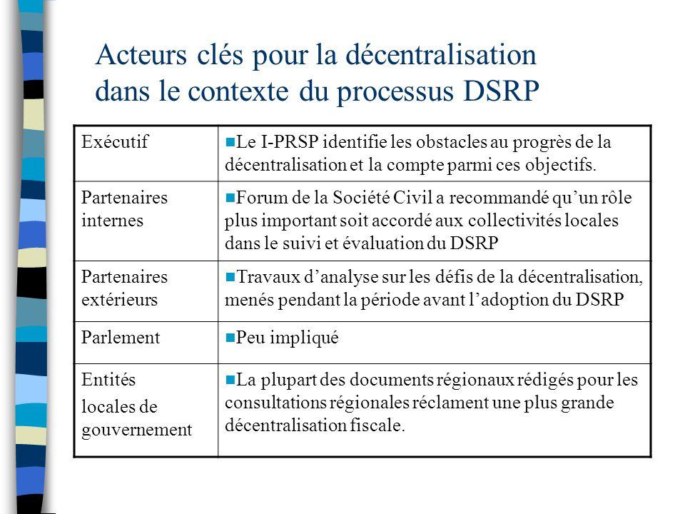 Acteurs clés pour la décentralisation dans le contexte du processus DSRP Exécutif Le I-PRSP identifie les obstacles au progrès de la décentralisation et la compte parmi ces objectifs.