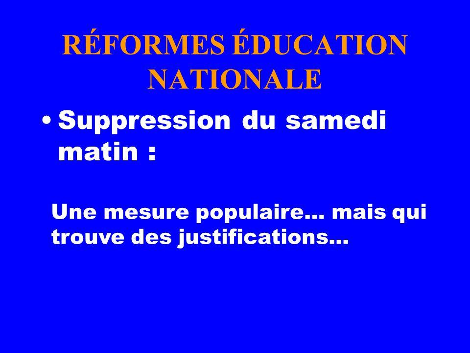 RÉFORMES ÉDUCATION NATIONALE Suppression du samedi matin : Une mesure populaire… mais qui trouve des justifications...