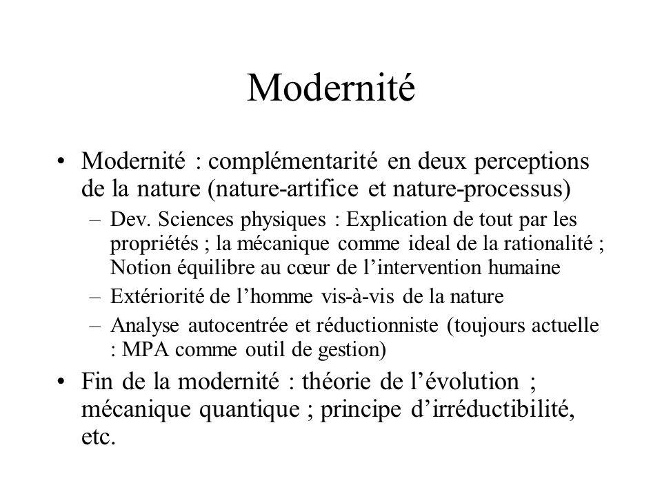 Modernité Modernité : complémentarité en deux perceptions de la nature (nature-artifice et nature-processus) –Dev. Sciences physiques : Explication de