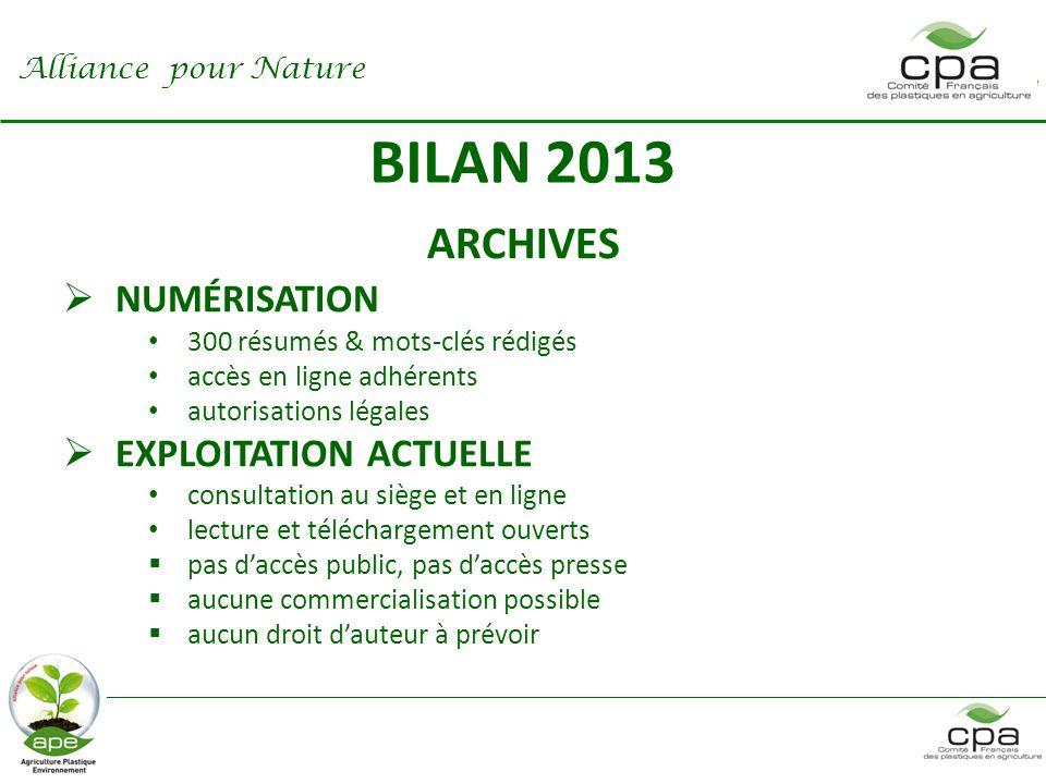 BILAN 2013 COMMUNICATION  rapport annuel 2012  enquête prescripteurs élevage  Journées Techniques élevage  contribution éditoriale  sites CPA et APE Alliance pour Nature