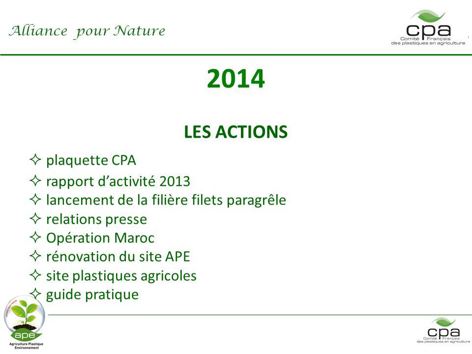 2014 LES ACTIONS  plaquette CPA  rapport d'activité 2013  lancement de la filière filets paragrêle  relations presse  Opération Maroc  rénovation du site APE  site plastiques agricoles  guide pratique Alliance pour Nature