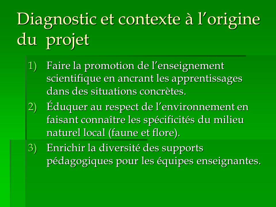 Diagnostic et contexte à l'origine du projet 1)Faire la promotion de l'enseignement scientifique en ancrant les apprentissages dans des situations concrètes.