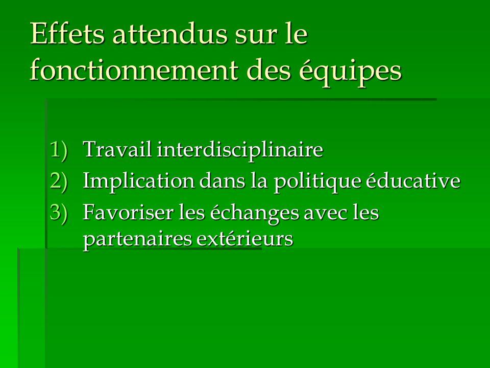 Effets attendus sur le fonctionnement des équipes 1)Travail interdisciplinaire 2)Implication dans la politique éducative 3)Favoriser les échanges avec les partenaires extérieurs