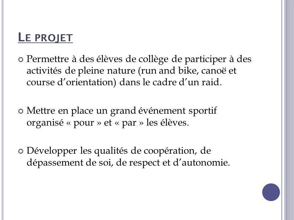 L E PROJET Permettre à des élèves de collège de participer à des activités de pleine nature (run and bike, canoë et course d'orientation) dans le cadr