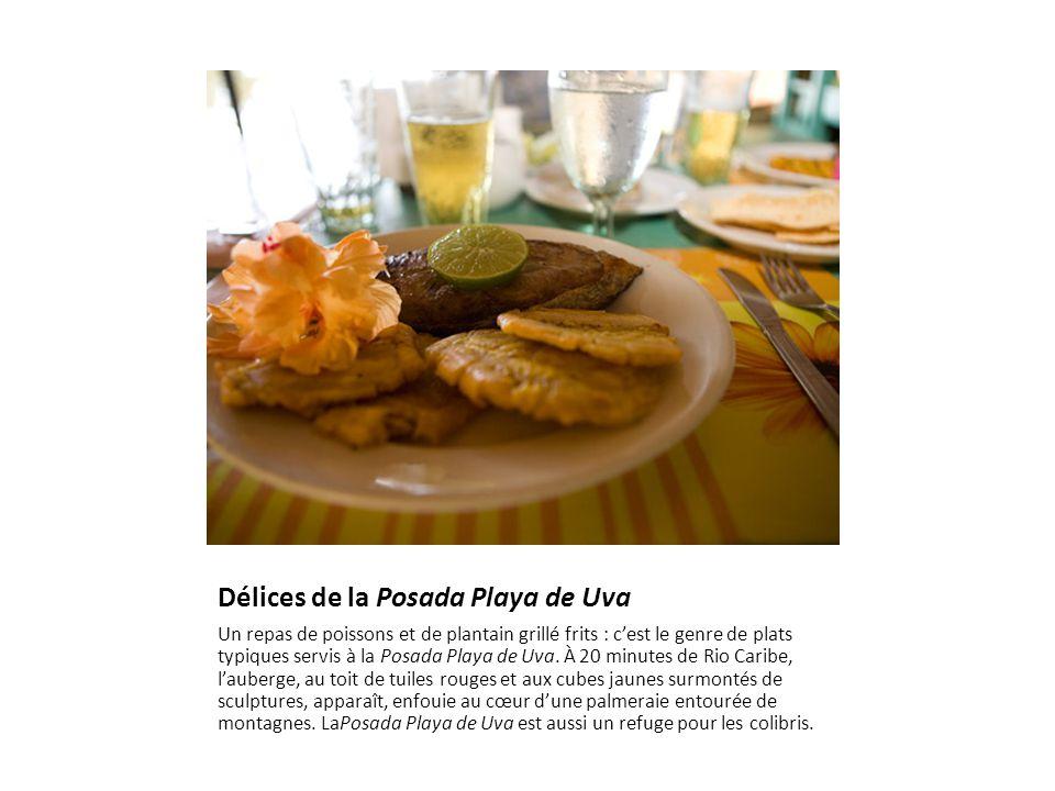 Délices de la Posada Playa de Uva Un repas de poissons et de plantain grillé frits : c'est le genre de plats typiques servis à la Posada Playa de Uva.
