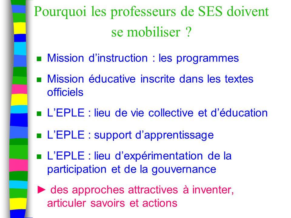 Pourquoi les professeurs de SES doivent se mobiliser .