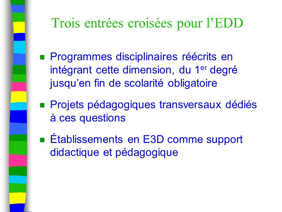 Trois entrées croisées pour l'EDD n Programmes disciplinaires réécrits en intégrant cette dimension, du 1 er degré jusqu'en fin de scolarité obligatoire n Projets pédagogiques transversaux dédiés à ces questions n Établissements en E3D comme support didactique et pédagogique