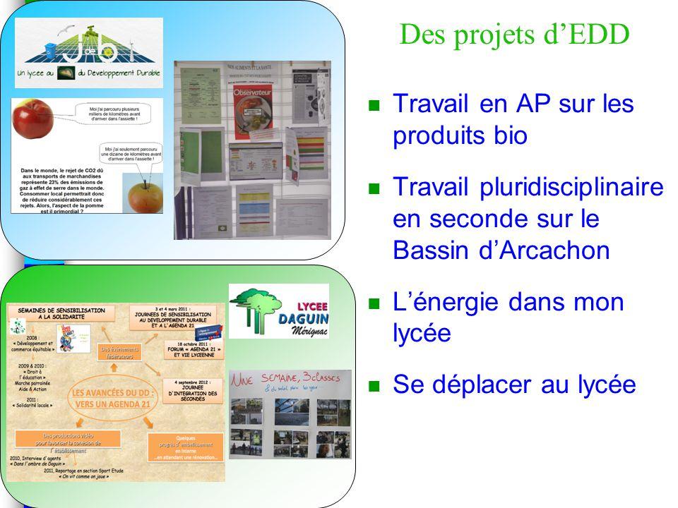 Des projets d'EDD n Travail en AP sur les produits bio n Travail pluridisciplinaire en seconde sur le Bassin d'Arcachon n L'énergie dans mon lycée n Se déplacer au lycée