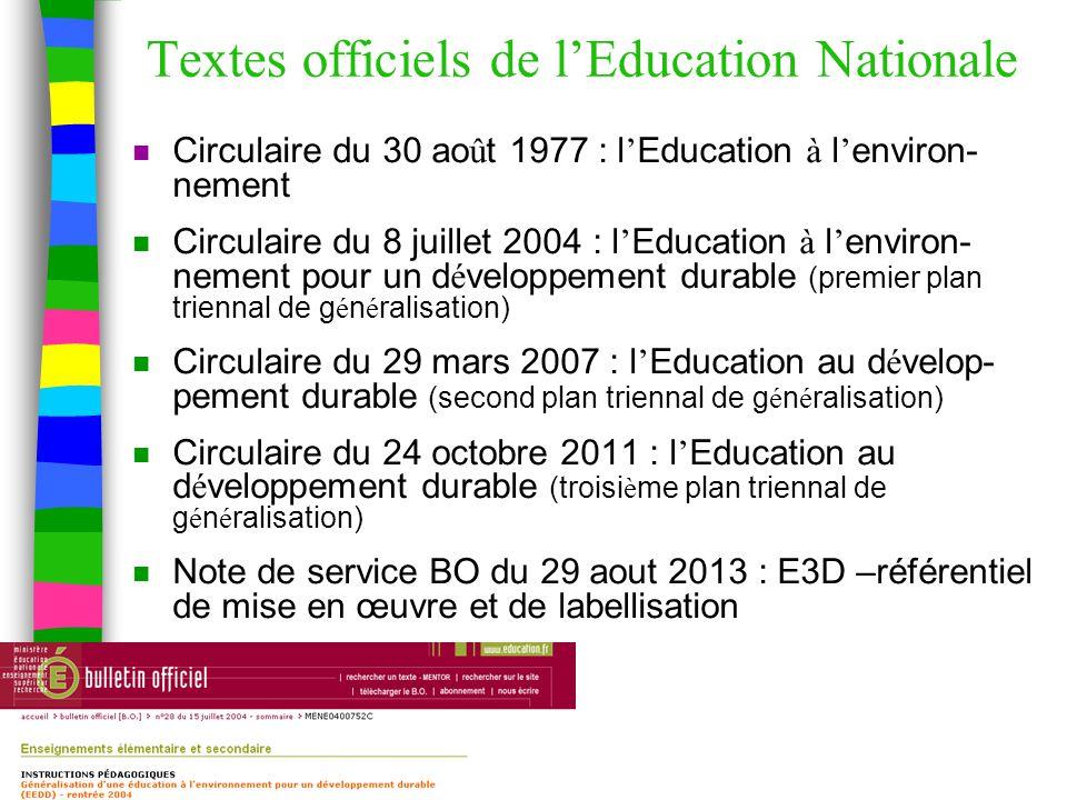 Textes officiels de l'Education Nationale n Circulaire du 30 ao û t 1977 : l ' Education à l ' environ- nement n Circulaire du 8 juillet 2004 : l ' Education à l ' environ- nement pour un d é veloppement durable (premier plan triennal de g é n é ralisation) n Circulaire du 29 mars 2007 : l ' Education au d é velop- pement durable (second plan triennal de g é n é ralisation) n Circulaire du 24 octobre 2011 : l ' Education au d é veloppement durable (troisi è me plan triennal de g é n é ralisation) n Note de service BO du 29 aout 2013 : E3D –référentiel de mise en œuvre et de labellisation