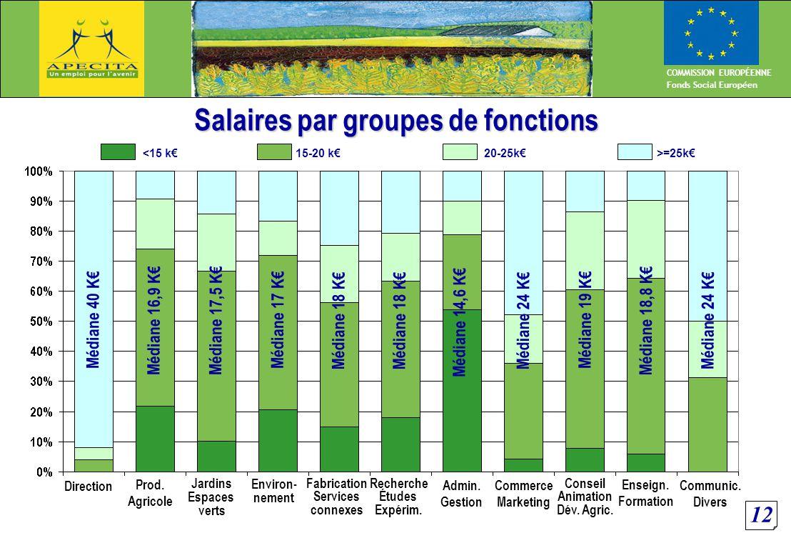 12 COMMISSION EUROPÉENNE Fonds Social Européen Salaires par groupes de fonctions Médiane 40 K€ Médiane 16,9 K€Médiane 17,5 K€ Médiane 17 K€ Médiane 18 K€ Médiane 14,6 K€ Médiane 24 K€ Médiane 19 K€ Médiane 18,8 K€ Médiane 24 K€ Direction Prod.
