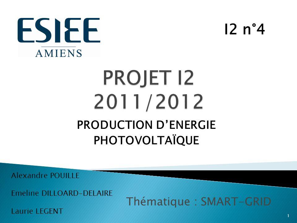 PRODUCTION D'ENERGIE PHOTOVOLTAÏQUE 1 I2 n°4 Alexandre POUILLE Emeline DILLOARD-DELAIRE Laurie LEGENT Thématique : SMART-GRID