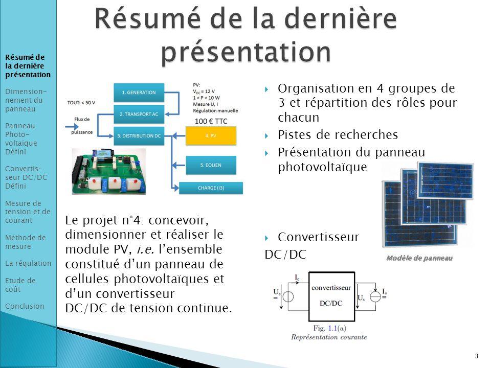 3 Le projet n°4: concevoir, dimensionner et réaliser le module PV, i.e.