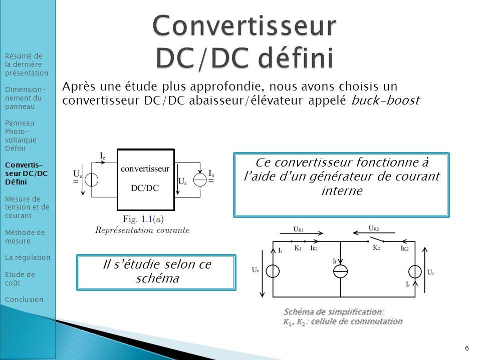 Après une étude plus approfondie, nous avons choisis un convertisseur DC/DC abaisseur/élévateur appelé buck-boost 6 Résumé de la dernière présentation Dimension- nement du panneau Panneau Photo- voltaïque Défini Convertis- seur DC/DC Défini Mesure de tension et de courant Méthode de mesure La régulation Etude de coût Conclusion Ce convertisseur fonctionne à l'aide d'un générateur de courant interne Il s'étudie selon ce schéma