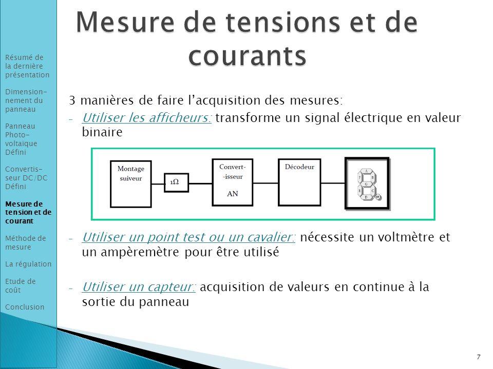 3 manières de faire l'acquisition des mesures: - Utiliser les afficheurs: transforme un signal électrique en valeur binaire - Utiliser un point test ou un cavalier: nécessite un voltmètre et un ampèremètre pour être utilisé - Utiliser un capteur: acquisition de valeurs en continue à la sortie du panneau 7 Résumé de la dernière présentation Dimension- nement du panneau Panneau Photo- voltaïque Défini Convertis- seur DC/DC Défini Mesure de tension et de courant Méthode de mesure La régulation Etude de coût Conclusion